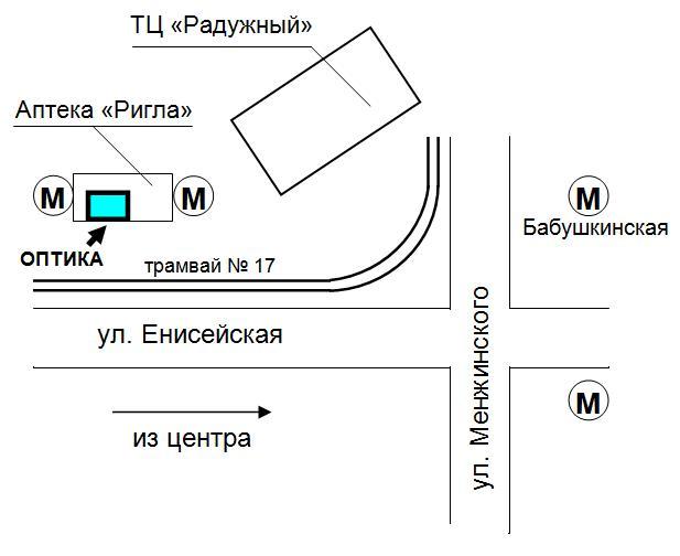Схема проезда в магазин оптики